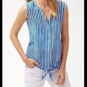 Tommy Bahama 100% Silk Marina Stripe Shell Top